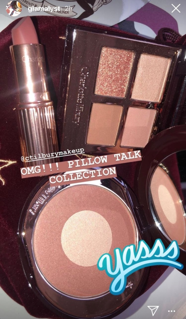Charlotte Tilbury Pillow Talk collection, including Charlotte Tilbury Pillow Talk Luxury Eye Palette and Pillow Talk Cheek to Chic Blush