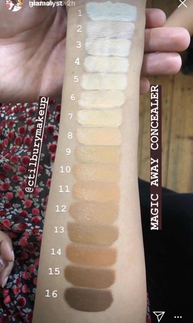 Charlotte Tilbury Magic Away Concealer swatches of all shades
