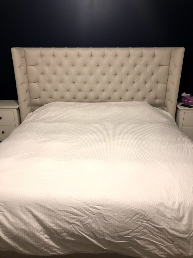 Candace and Basil Santa Fe bed in ivory linen made in Canada custom bed review